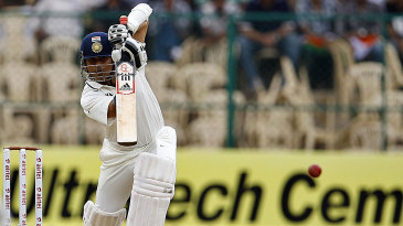 Sachin Tendulkar drives down the ground