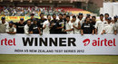 India with the Test series trophy, India v New Zealand, 2nd Test, Bangalore, 4th day, September 3, 2012