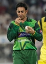 Saeed Ajmal walks back to his bowling mark, Pakistan v Australia, 3rd ODI, Sharjah, September 3, 2012