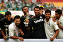 India celebrate with the trophy, India v New Zealand, 2nd Test, Bangalore, 4th day, September 3, 2012