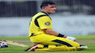 Michael Hussey reacts at the fall of Matthew Wade's wicket