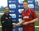 Michael Pedersen with the man-of-the-match award, Denmark v United States of America, ICC World Cricket League Division Four 2012, September 4, 2012