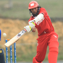 Denmark's Aftab Ahmed plays a shot