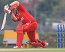 Carsten Pedersen plays a shot, Denmark v Tanzania, ICC World Cricket League Division Four 2012, Kuala Lumpur, September 3, 2012