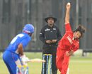 Aftab Ahmed bowls to a USA batsman, Denmark v United states of America, ICC World Cricket League Division Four 2012, Kuala Lumpur, September 4, 2012