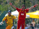 Isle of Man's Max Stokoe appeals for a wicket, Cyprus v Isle of Man, European Championship Division Two Twenty20, Corfu, September 3, 2012