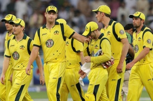 The dejected Australians leave the field after their loss, Pakistan v Australia, 1st T20I, Dubai, September 5, 2012
