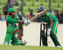 Bangladesh's Lata Mondal plays a sweep shot, Bangladesh Women v South Africa Women, 1st ODI, Dhaka, September 6, 2012