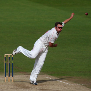 Robert Croft sends down a delivery, Glamorgan v Middlesex, County Championship, Division Two, Cardiff, 3rd day, August 18, 2010