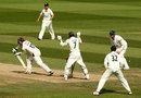 Rory Burns plays forward and loses his middle stump