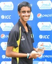 Abhiraj Singh with the Man-of-the-Match award, Singapore v Tanzania, ICC World Cricket League Division Four 2012, Kuala Lumpur, September 7, 2012