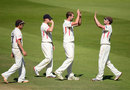 Tom Smith celebrates his dismissal of Neil Dexter