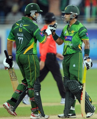 Mohammad Hafeez and Nasir Jamshed shared a 76-run stand, Pakistan v Australia, 2nd T20I, Dubai, September 7, 2012