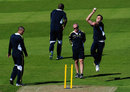 Morne Morkel, Wayne Parnell and Lonwabo Tsotsobe take part in bowling practice
