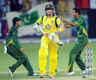 Abdul Razzaq picked up two wickets in his only over, including that of George Bailey, Pakistan v Australia, 2nd T20I, Dubai, September 7, 2012