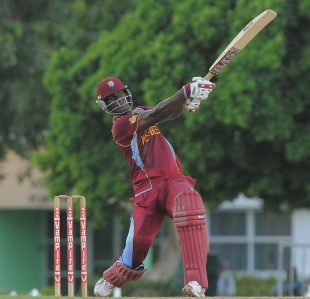 Darren Sammy goes for a big hit during a practice match, Barbados, September 7, 2012