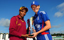 Merissa Aguilleira and Charlotte Edwards pose with the NatWest series trophy, England Women v West Indies Women, 1st T20I, Chester-le-Street, September 8, 2012