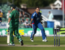 Jade Dernbach celebrates the wicket of Richard Levi