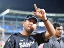 Yuvraj Singh signals to his fans, India v New Zealand, 1st T20I, Visakhapatnam, September 8, 2012
