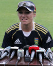 South Africa captain Mignon du Preez takes questions