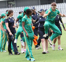Yolandi van der Westhuizen (right) is delighted with the win, Bangladesh Women v South Africa Women, 3rd ODI, Dhaka, September 9, 2012