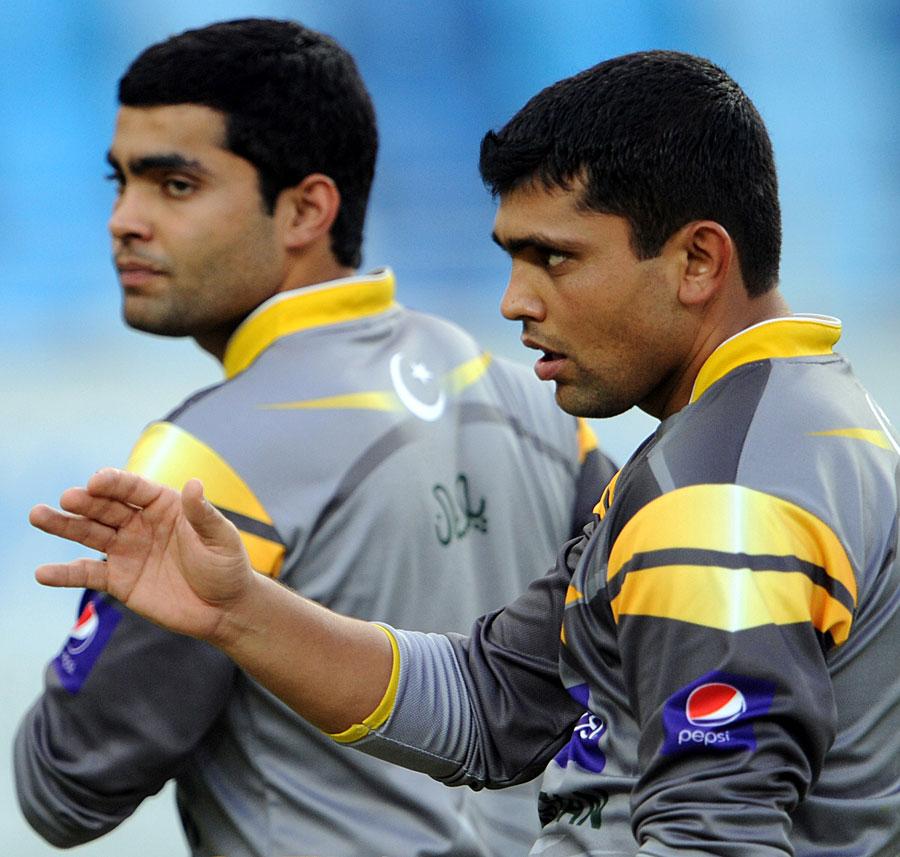 Umar Akmal and Kamran Akmal during training ahead of the 3rd T20Umar Akmal And Kamran Akmal Are Brothers