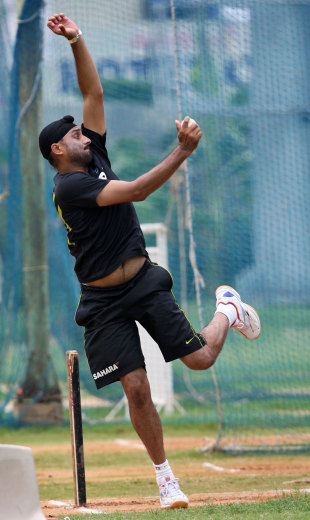 Harbhajan Singh has a bowl in the nets, Chennai, September 10, 2012