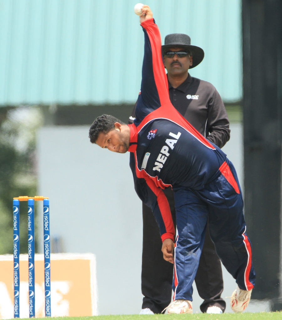 Basanta Regmi bowls during the final
