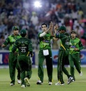 Umar Gul celebrates a wicket with team-mates