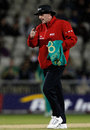 Umpire Rob Bailey gives the final signal to leave the field for good, England v South Africa, 2nd NatWest T20I, Old Trafford, September 10, 2012