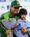 Mohammad Hafeez with the trophy for the Twenty20 series, Pakistan v Australia, 3rd T20I, Dubai, September 10, 2012