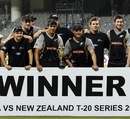 New Zealand team poses with the winners trophy, India v New Zealand, 2nd T20I, Chennai, September 11, 2012