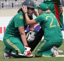 Susan Benade being congratulated by skipper Mignon du Preez, Bangladesh Women v South Africa Women, 2nd T20I, Mirpur, September 12, 2012