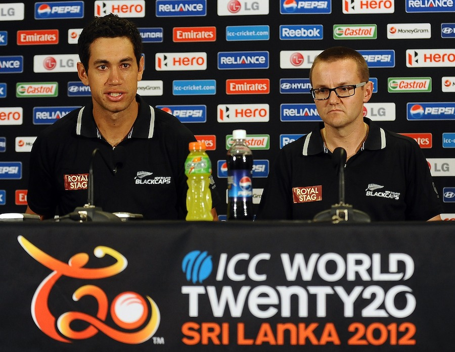 Ross Taylor and Mike Hesson, New Zealand's captain and coach, at a press conference, Colombo, World Twenty20 2012, September 13, 2012