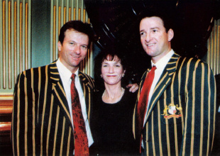 Steve and Mark Waugh with their mother Bev after winning the 1999 World Cup