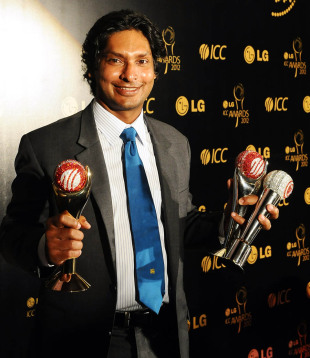 Kumar Sangakkara won the ICC Cricketer of the Year and the ICC Test player of the Year Award, Colombo, September 15, 2012
