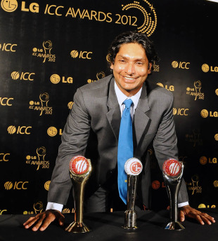 Kumar Sangakkara smiles after receiving three awards, Colombo, September 15, 2012