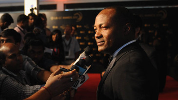 Brian Lara talks to the press at the ICC Awards