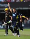 Kabir Ali celebrates his decisive dot ball, Hampshire v Warwickshire, CB40 Final, Lord's, September 15, 2012