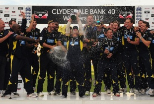 Hampshire receive the CB40 trophy after they beat Warwickshire by losing fewer wickets in a thrilling Lord's final
