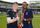 Jimmy Adams and Dimitri Mascarenhas pose with the CB40 trophy, Hampshire v Warwickshire, CB40 Final, Lord's, September 15, 2012