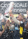 Jimmy Adams lifts the CB40 trophy, Hampshire v Warwickshire, CB40 Final, Lord's, September 15, 2012