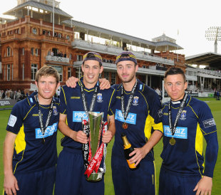 Liam Dawson, Chris Wood, James Vince and Michael Bates pose with the CB40 trophy, Hampshire v Warwickshire, CB40 Final, Lord's, September 15, 2012