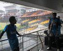 Mushfiqur Rahman and Ziaur Rahman stay indoors due to rain, Colombo, September 16, 2012