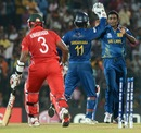 Ajantha Mendis celebrates the wicket of Hamilton Masakadza, Sri Lanka v Zimbabwe, Group C, World T20 2012, Hambantota, September 18, 2012