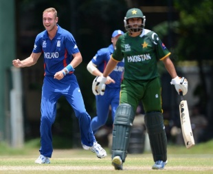 Stuart Broad dismissed Shahid Afridi for 5, England v Pakistan, World Twenty20 2012 warm-up, Colombo, September 19, 2012