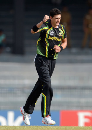 Mitchell Starc was among those getting an early wicket, Australia v Ireland, World Twenty20 2012, Group B, Colombo, September 19, 2012