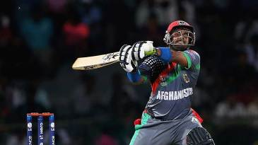 Mohammad Shahzad gets ready to swing hard