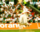 Robin Smith avoids a bouncer, England v West Indies, 4th Test, Old Trafford, 2nd day, July 28, 1995