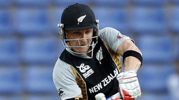 Brendon McCullum looks to hit the ball towards the leg side